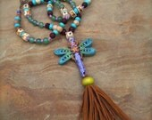 eclectic DRAGONFLY amulet necklace fringe necklace BOHO HIPPIE long necklace chunky statement necklace