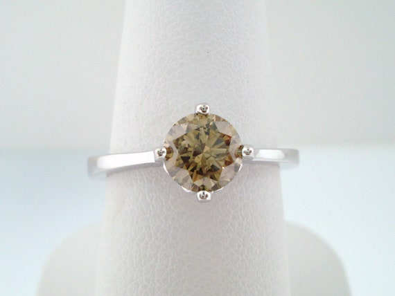Fancy Champagne Diamond Solitaire Engagement Ring 14K White Gold 1.01 Carat Certified Gallery Design Handmade  Ring