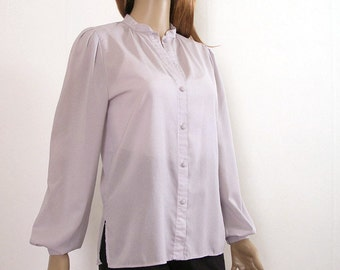 Vintage 1970s Blouse Semi Sheer Pale Gray Long Sleeve Shirt / Small