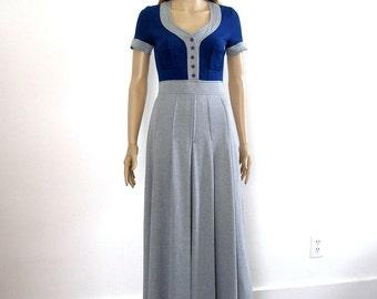 Vintage 60s Maxi Dress Navy Blue Heather Gray Low Neck Dress / XS S