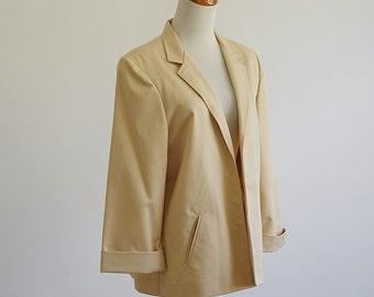 Vintage 80s Jacket -- 80s Beige Brown Blazer -- 80s Jacket -- Khaki Tan Blazer -- 1980s Fashion -- Office Wear Work Clothes -- Large XL