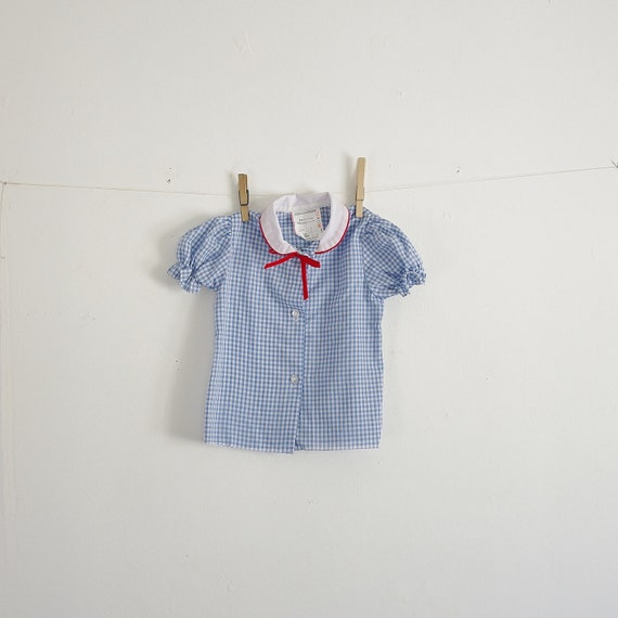 Vintage Girls Blouse -- Peter Pan Collar -- Blue Gingham Button Down -- Puff Sleeves -- Size 3 or 5