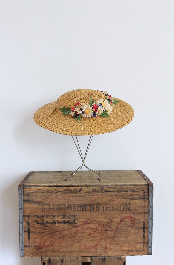vintage 1930s straw hat 30s wide brim straw floral boater hat with millinery flowers and taupe velvet bow / to market