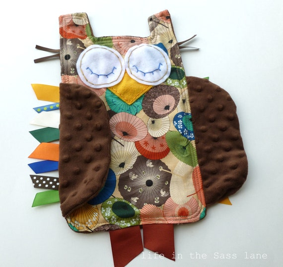 Asian Umbrellas Baby Gift OWL Ribbon Tag Blankie in a Chinoiserie Print and Chocolate Brown Minky Blanket Lovey Lovie