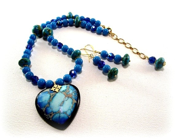 Turquoise Necklace Set So So Pretty Tropical Blue Variscite