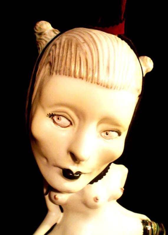 """RESERVED adult """"HoLey TriniTy"""" OOAK handmade finger f----ing erotic musical reliquary sculpture...large human head kiln fired art doll of cl"""