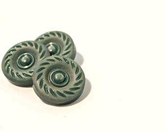 Green Buttons - 1950s - 60s Plastic Buttons - New Old Stock Buttons - SIX small vintage Buttons - Christmas Buttons - Dark Green