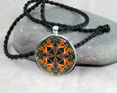 Bird of Paradise Pendant Necklace Boho Chic Mandala New Age Sacred Geometry Hippie Kaleidoscope Feathered Fauna