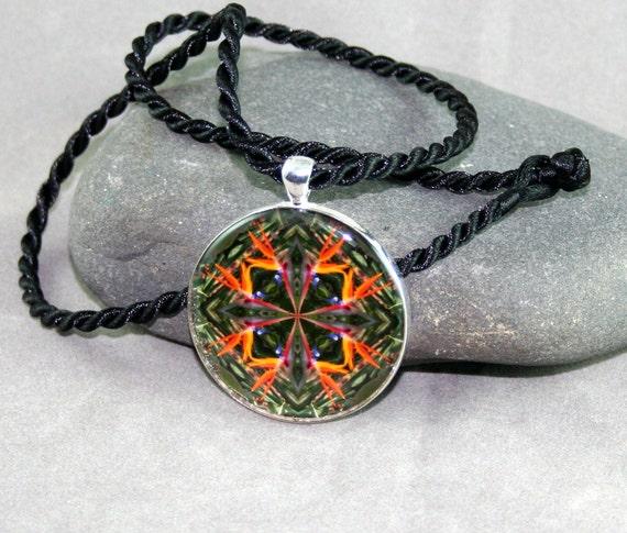 Bird of Paradise Pendant Necklace Boho Chic Mandala New Age Sacred Geometry Hippie Kaleidoscope Feathered Fauna