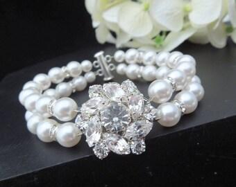 Bridal Pearl Bracelet,Rhinestone Wedding Bracelet,Vintage Style Bridal Rhinestone Bracelet Cuff,Victorian Wedding Jewelry Pearl Cuff,NATALEE