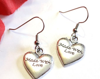 MADE WITH LOVE Heart Charm Earrings in Silver