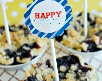 Baseball Party PRINTABLE 2 Inch Cupcake Toppers from Love The Day