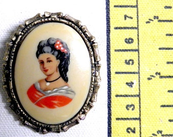 Brooch - Vintage Rare Victorian Lady in Red on Cream Glass Cabochon 30x40MM in Substantial Gold Tone Setting Heirloom Jewelry Costume