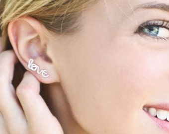 Love Earring, Sterling Silver or Gold Filled