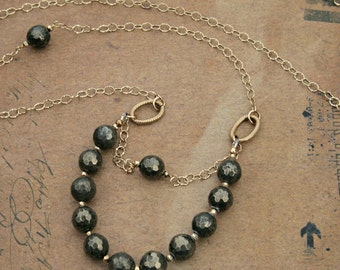 Textured Pyrite and Gold Filled Long Necklace