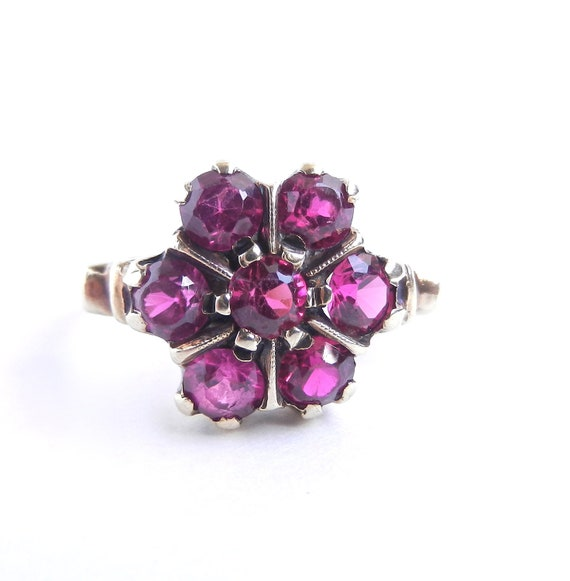 RESERVED for Stephanie - 3rd Payment - 10K Gold Pink Stone Flower Ring - Antique Size 7 Fine Jewelry / Victorian Pink Petals
