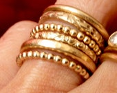 Six Stacking Rings - Wedding Rings - Gold Filled Band Rings - Beaded Ring - Floral Ring - Textured Ring - Handmade Rings -