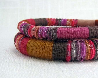 Fiber  Bangle Bracelets -  Hot Pink Brown Purple Silver- Moroccan Duo
