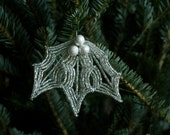 MOVING SALE-Silver Sparkling French Beaded Holly Ornament