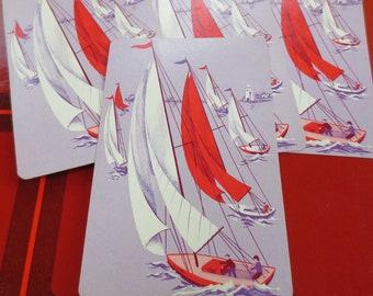 6 Sailing Vintage Playing Cards