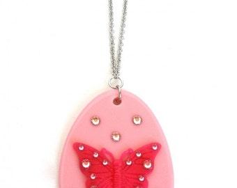 Pink Butterfly Swarovski Necklace