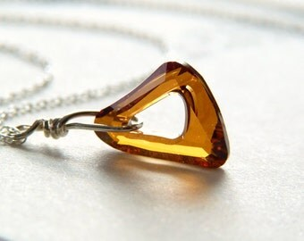 Crystal Triangle Necklace - Sterling Silver Necklace - Amber Triangle Necklace - Shimmer Sparkle Glitter Jewelry - Geometric Necklace