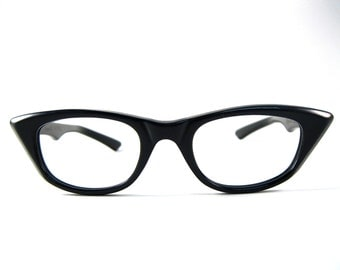 SALE black cat eye glasses. classic simple style. mad men. vintage Imperial brand. new old stock NOS/deadstock. no lenses. 46-20.