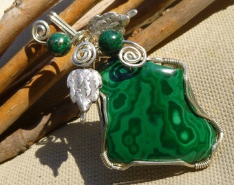 Natural Freeform Malachite Leaf Pendant Sterling Silver Wire Wrapped Pendant