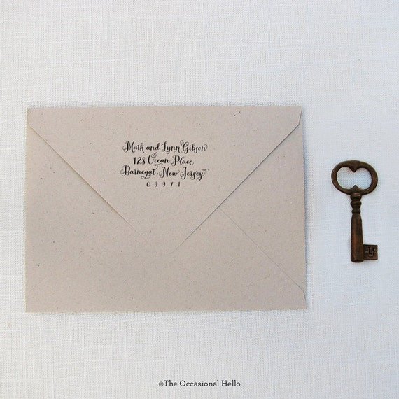 Items Similar To Script Calligraphy Return Address Stamp