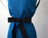 Reserved for Heather - Audrey Hepburn Pull Over Style Blue Dress with Black Bow Belt - Elegant and Sophisticated Sleeveless Dress