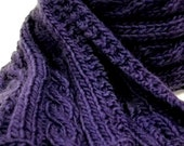 Cable Knit Scarf, Luxurious Wool Scarf, Gender Neutral Scarf, Purple or Royal Blue Knit Scarf
