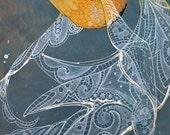 Large giclee art print, orange goldfish with white lace fins on deep aqua blue