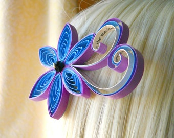 Four Weddings Personalized Wedding Hair Clip, Personalized Hair Accessory, Purple Wedding