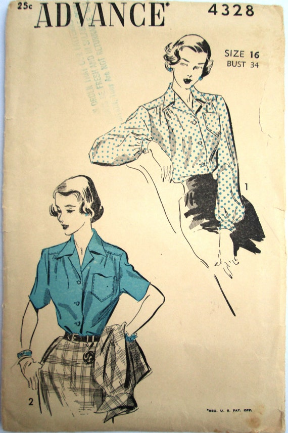 Gorgeous Vintage 1940s Advance 4328 Blouse Unprinted Sewing Pattern for Bust 34
