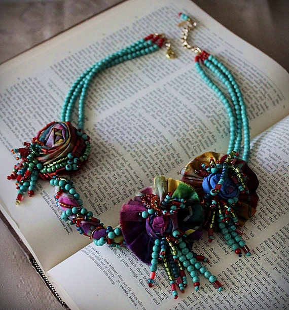 SUMMER GIRL Turquoise Beaded Fabric Statement Necklace