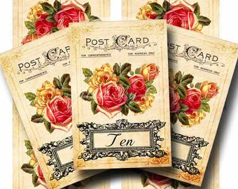 Vintage Wedding Table Numbers Digital Collage Sheet ROSES & ROMANCE 10 Printable Tented Cards Instant Download Party Goods GalleryCat CS201