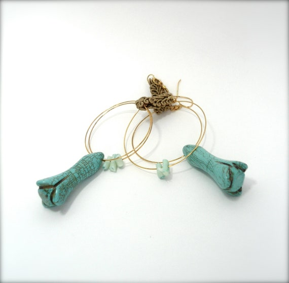 Long turquoise gold hoop earrings- Jewelry for woman-  turquoise gem stone floral jewel - BOHO- new season