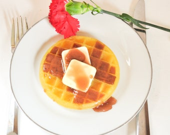 Waffle Soap with maple syrup & butter pads - Mother's day soap - Breakfast Soap - Food Soap