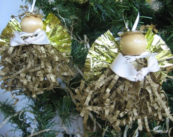 Gold Angel Christmas Ornaments Set of TWO Gold Paper Crimp Angels Paper Angels SnowNoseCrafts