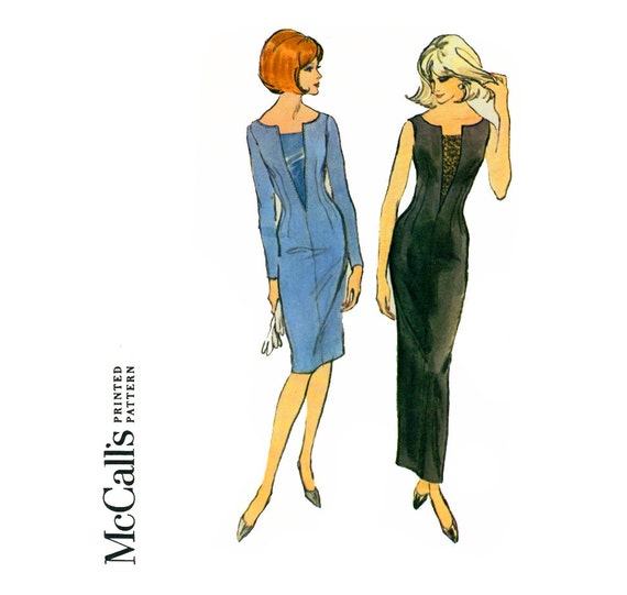 1960s Evening Dress Pattern McCalls 7566 Misses Sheath Dress in Two Lengths Womens Vintage Sewing Pattern Bust 31