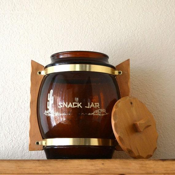 SiestaWare Cookie Jar Large Amber Glass Snack Jar Southwest Style Vintage 1980s