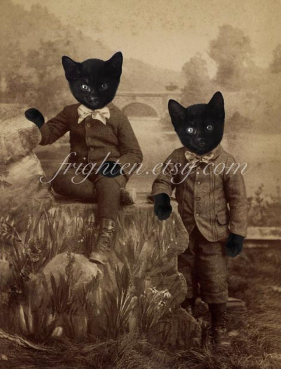 Twin Black Cats in Clothes, Collage Art Print, Kitten Boys, Halloween Decor