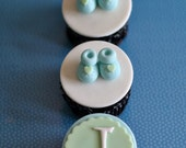 Baby Shower Fondant Bootie Shoe and Monogram Toppers for Cupcakes, Cookies or Mini-Cakes