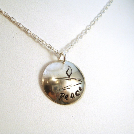 Peace UU Abstract Flaming Chalice Sterling Silver Necklace