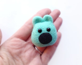 Felt Mint Teddy Bear Brooch - Made to Order Needle Felted Pastel Mint Green Animal Jewellery Pin