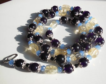Blue berries on Quartz and silver necklace  364