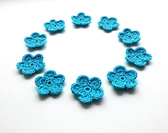 Crochet Flower Applique, Turquoise, Set of 10