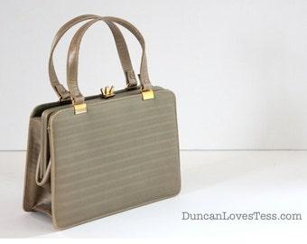 Vintage Handbag / 50s Handbag / Andrew Geller / Dress Bag / Small Structured Pocketbook / Taupe Purse / 50s Accessories