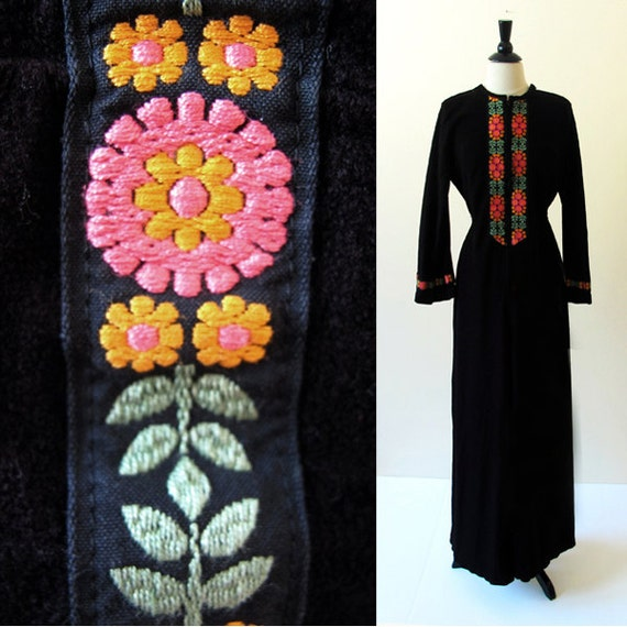 70s velour jumpsuit / 70s black jumpsuit /  vintage lounge wear / comfortable beauty