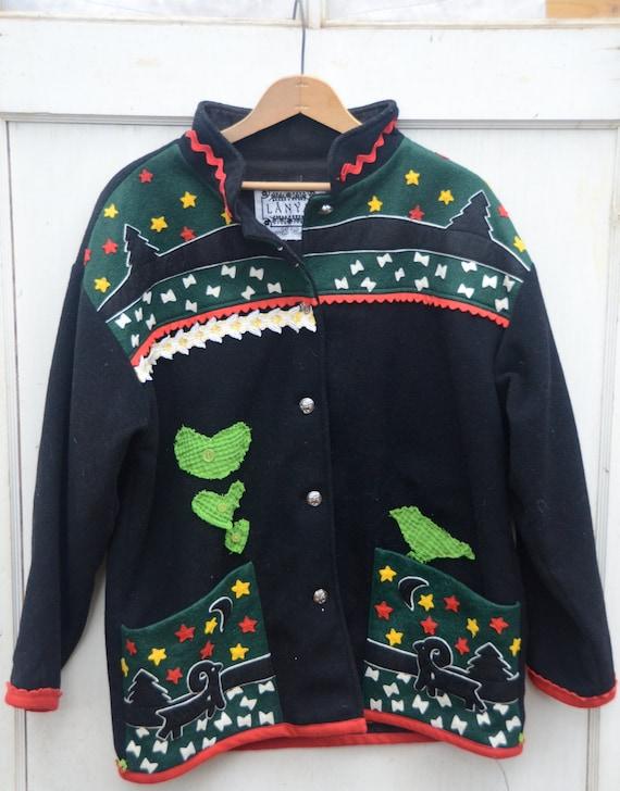 mom gift SALE snow warm scandanavia reindeer wool red green eco upcycled ooak Samii Gay Ellis Vermont Lapland Nordic  jacket coat